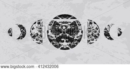 Mid Century Modern Art Background. Abstract Geometric Textured Shapes Artwork. Minimal Pattern.