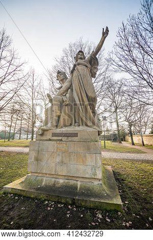 Prague, Czech Republic - February 24, 2021. Historic Statues Of Legends In Vysehrad Park - Premysl A