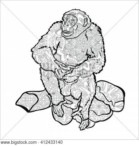 Chimpanzee Sitting On Rock, Drawing With Pattern For Coloring.