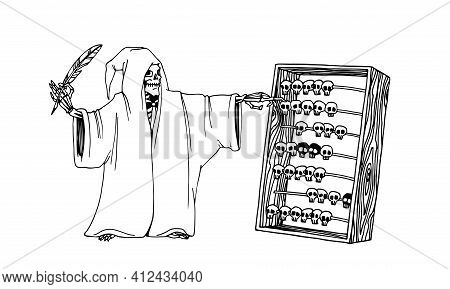 Grim Reaper With Old Wooden Abacus And Goose Pen, Mass Death Concept, Vector Illustration With Black