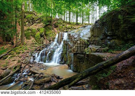 Wild Waterfall Skakalo In Spring. Scenic Travel Destination Of Mukachevo Region Transcarpathia, Ukra