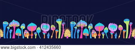 Vector Illustration Image Of Magic Mushrooms. Seamless Pattern From Bright Fantastic Mushrooms On A
