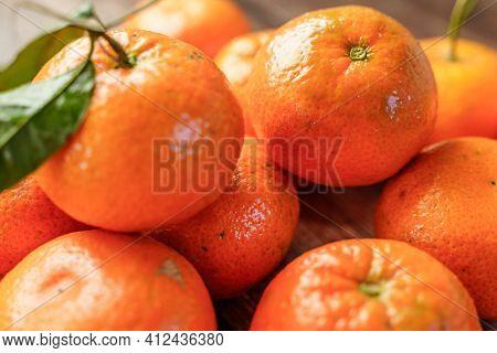 Background Full Of Fresh Orange Tangerines. Clementines Food Background