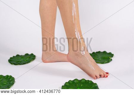 Cropped Photo Of Female Leg. Body Care. The Woman Applied The Cream To Her Shiny Legs Female Applyin