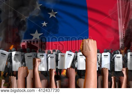 Protest In Samoa - Police Guards Stand Against The Protestors Crowd On Flag Background, Demonstratio