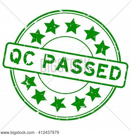 Grunge Green Qc (quality Control) Passed Word Round Rubber Seal Stamp On White Background