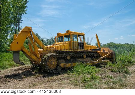 Bulldozer. Mechanical Site Preparation For Forestry. Agroforestry