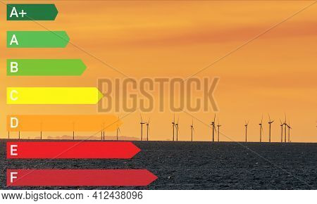 Green Energy Concept, Energy Label From A To E At The Electricity Generation By Windmills - Industri