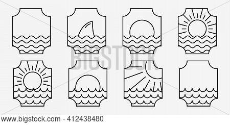 Set Bundle Of Marine Ocean Wave Line Art Logo, Illustration Vector Of Sea Water, Emblem Design Of Ma