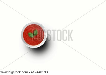 Top Up View Tomatoes Ketchup On White Bowl With Two Leaves . Top Up View Tomatoes Ketchup On White B