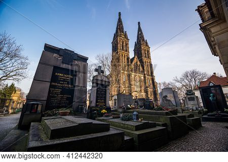 Prague, Czech Republic - February 24, 2021. Basilica Minor In Vysehrad Fortress Area - View Of The C