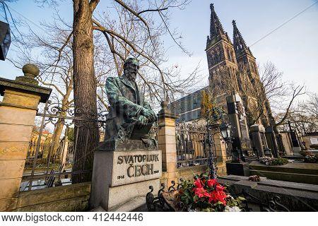 Prague, Czech Republic - February 24, 2021. Grave With Sculpture Of Writer Svatopluk Cech