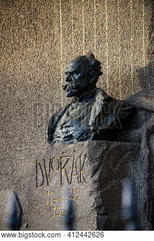 Prague, Czech Republic - February 24, 2021. Bust Of Famous Czech Composer Antonin Dvorak In Vysehrad