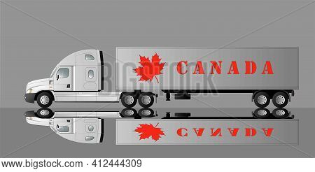 American Car For Transporting Goods With The Image Of A Maple Leaf And The Inscription Canada. Vecto