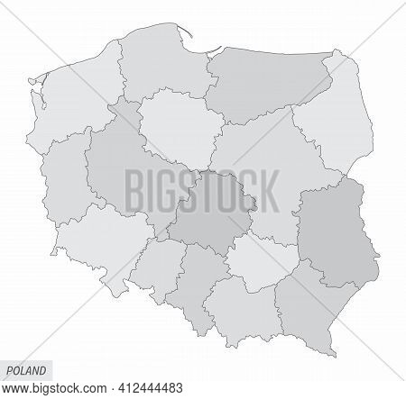 The Poland Isolated Map Divided In Regions