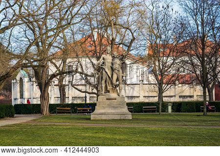 Prague, Czech Republic - February 24, 2021. Historic Statues Of Legends In Vysehrad Park - Slavoj A