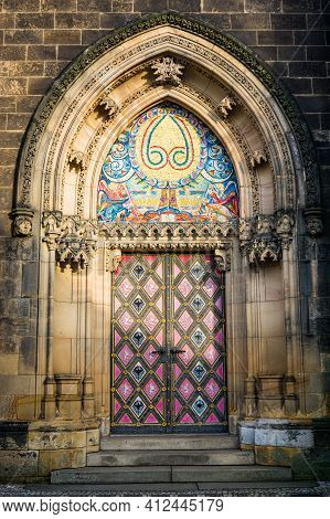 Prague, Czech Republic - February 24, 2021. One Of The Entrance To Basilica Minor In Vysehrad Fortre