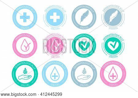 Dermatologically Tested Icon Set . Dermatology Test And Dermatologist Clinically Proven Icon For All