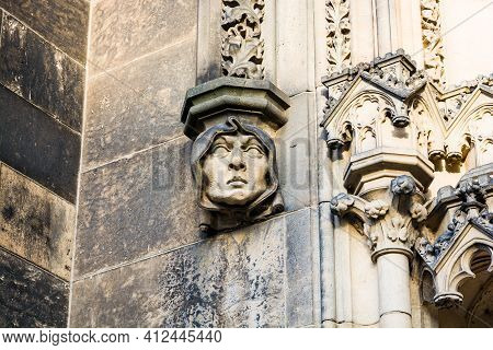 Prague, Czech Republic - February 24, 2021. Detail Of Small Sculptures Above Entrance To The Basilic