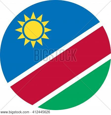 Namibia Round Flag Icon. Travel Icons And Signs.