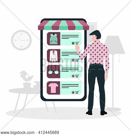 Mobile Shopping Consept. A Men Buy Things In The Online Store. Shopping On Social Networks Through P