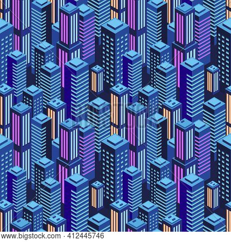 Seamless Urban Pattern. Isometric View. Purple Neon Colors. Night City Lights. Modern Trendy Backgro