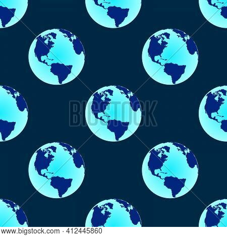 Flat Globe Seamless Pattern. Seal For Earth Day. Vector Illustration With The Meaning Of Save The Pl