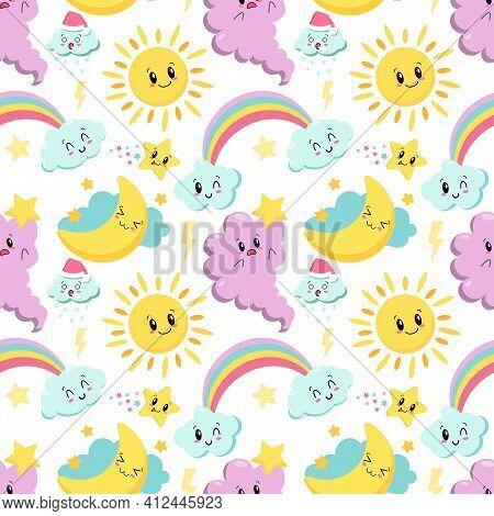 Seamless Pattern With Cute Kawaii , Cloud, Rainbow And Sun - Vector Illustration