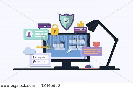 Office Desk Or Table With Computer. User Interface. Application Development And Ui, Ux Business Work
