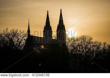 Prague, Czech Republic - February 24, 2021. Silhouette Of Basilica Minor In Vysehrad Fortress Area I