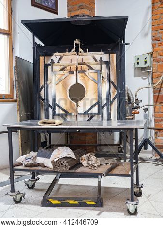 Decommissioned Glass Furnace. Cold Melting Kiln For Manual Blowing Of Glass And Machining By The Tra