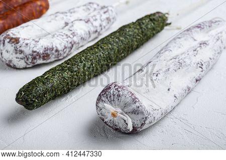 Chorizo And Fuet Salami  On White Background.