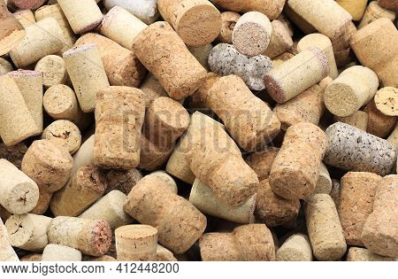 Abstract Background With Wine Corks From Sparkling, Corks From White Wine, Corks From Red Wine And O