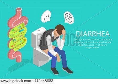 3d Isometric Flat Vector Conceptual Illustration Of Diarrhea.