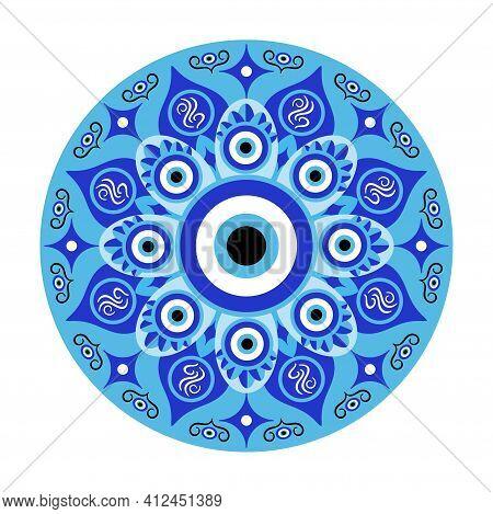 Blue Mandala Evil Eye, Greek Amulet Against Evil Eye