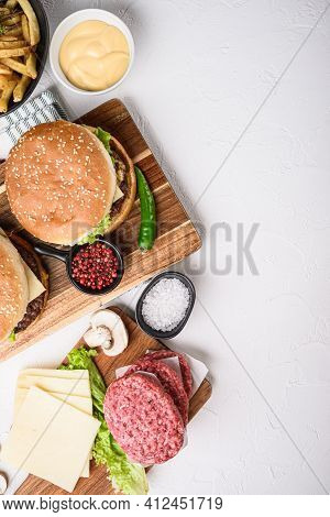 Burger With Ingredients On White Textured Background, Topview With Space For Text.