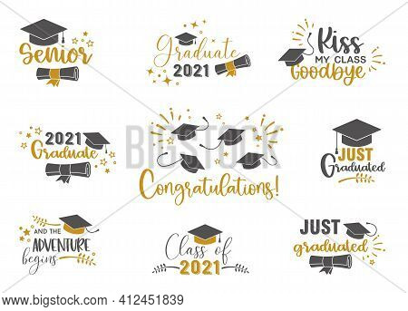 Graduation Congratulations At School, University Or College . Trendy Calligraphy Golden Glitter Insc