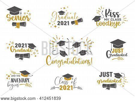 Graduation Congratulations At School, University Or College . Trendy Calligraphy Golden Glitter Insc