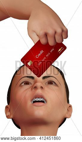 A Father's Hand Holds A Credit Card Over The Face Of His Daughter With Braces On Her Teeth. This 3-d