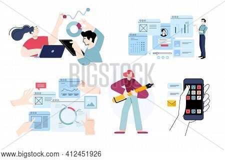 Set Of Flat Design People Concepts Of Seo, Analysis, Market Research, Data Analytics, Statistics, Mo