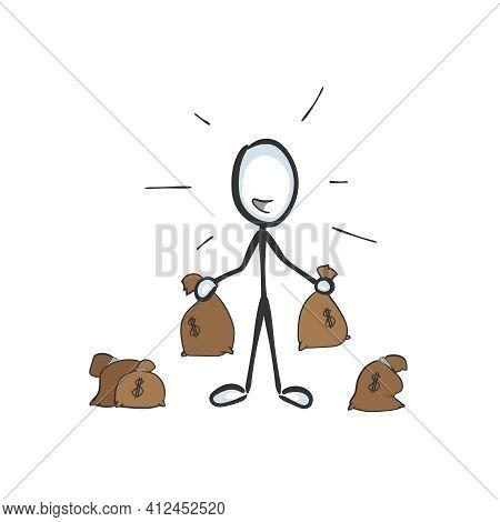 Rich Holding Bags Of Cash Money. Vector Simple Wealthy Man A Lot Of Dollars. Stickman No Face Clipar