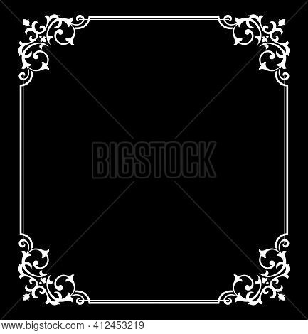 Decorative Frame Elegant Vector Element For Design In Eastern Style, Place For Text. Floral Black An