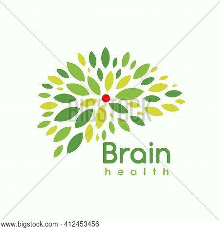 Green Leaves Brain, Logo Concept. Psychotherapist Logotype. Creative Head, Genius Brain With Fresh,