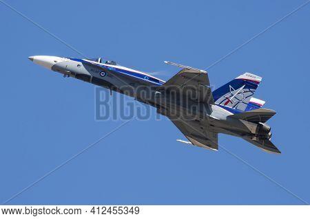 Fairford, United Kingdom - July 11, 2018: Royal Canadian Air Force Cf-18 Hornet 188776 Fighter Jet D