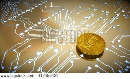 Three-dimensional Gold Coin With The Inscription Nft On The Background Of A Printed Circuit Board Wi