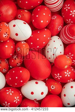 Happy Easter. Red And White Color Eggs Variety Background