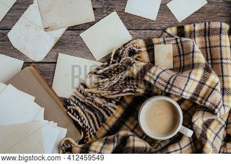 Clear Blank Photo Frames To Placed Your Pictures Or Text On Wooden Background With Mug Of Coffee And