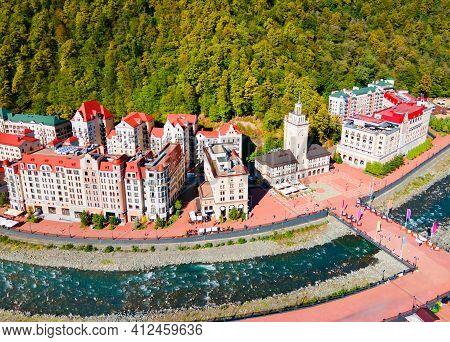 Rosa Khutor Aerial Panoramic View. Rosa Khutor Is An Alpine Ski Resort Located Near Krasnaya Polyana