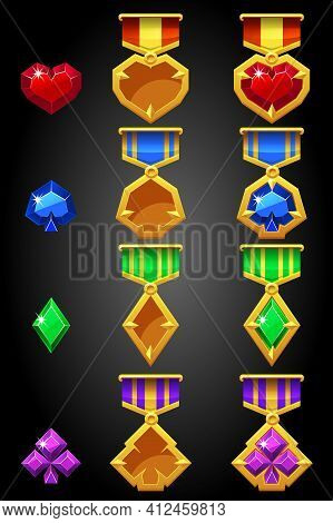 Constructor Of Symbols Of Game Cards For Creating A Medal.