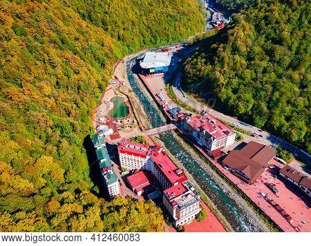 Rosa Khutor Village Aerial Panoramic View. Rosa Khutor Is An Alpine Ski Resort Located Near Krasnaya